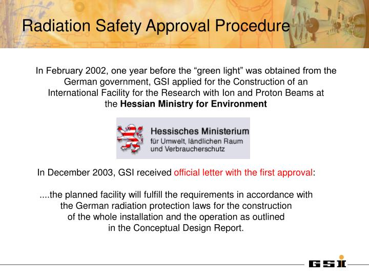 Radiation Safety Approval Procedure