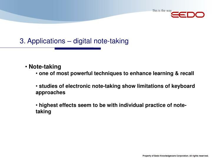 3. Applications – digital note-taking