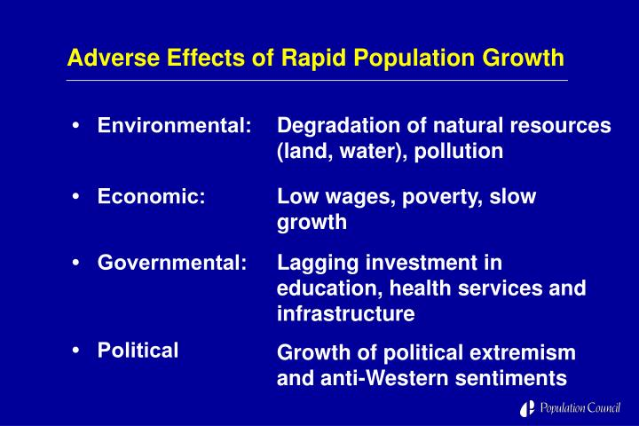 Adverse Effects of Rapid Population Growth
