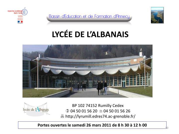 LYCÉE DE L'ALBANAIS
