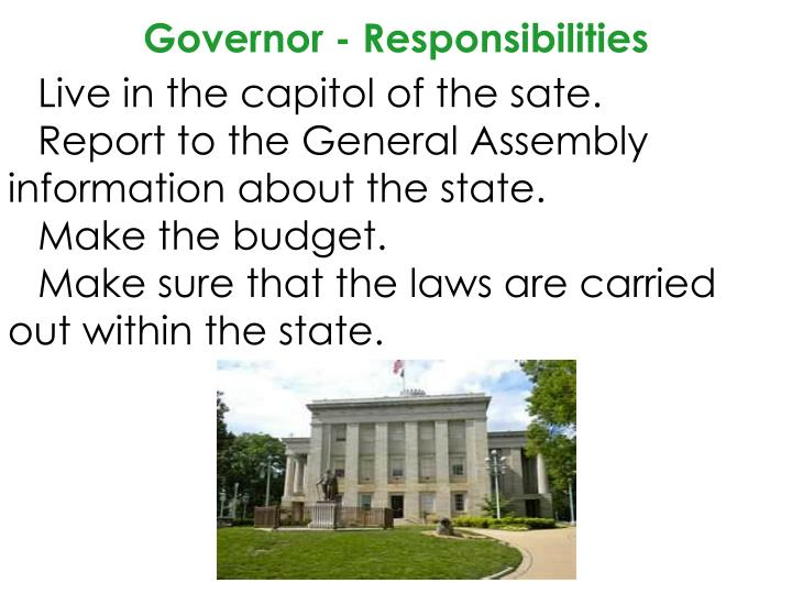 Governor - Responsibilities
