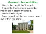 governor responsibilities