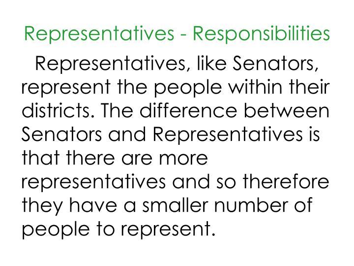 Representatives - Responsibilities