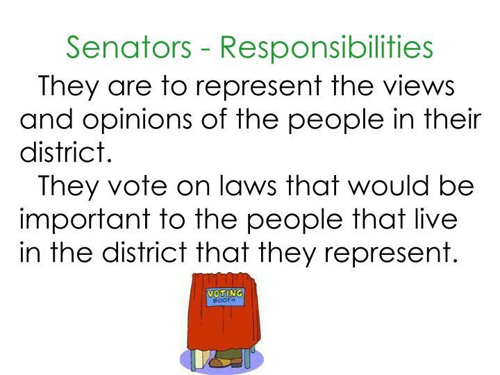 Senators - Responsibilities