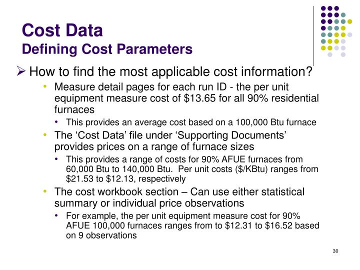 How to find the most applicable cost information?