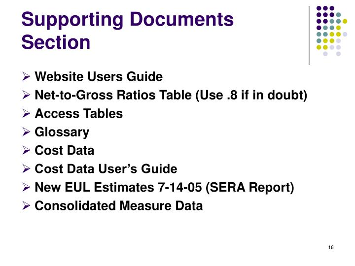 Supporting Documents Section