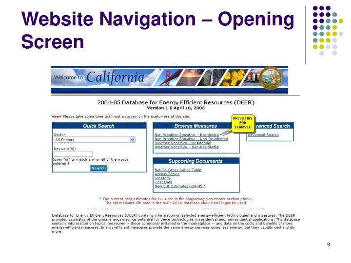 Website Navigation – Opening Screen