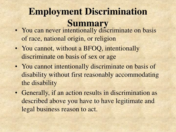 Employment Discrimination Summary