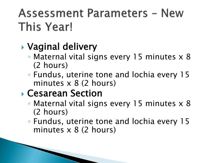 Assessment Parameters – New This Year!