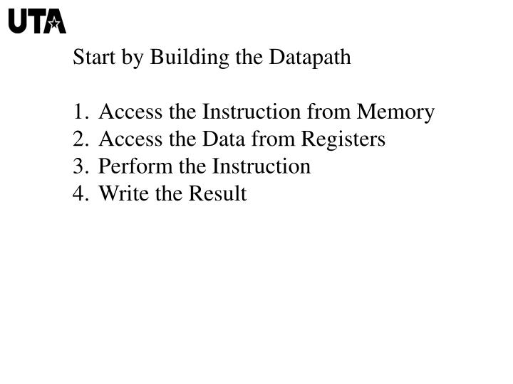 Start by Building the Datapath