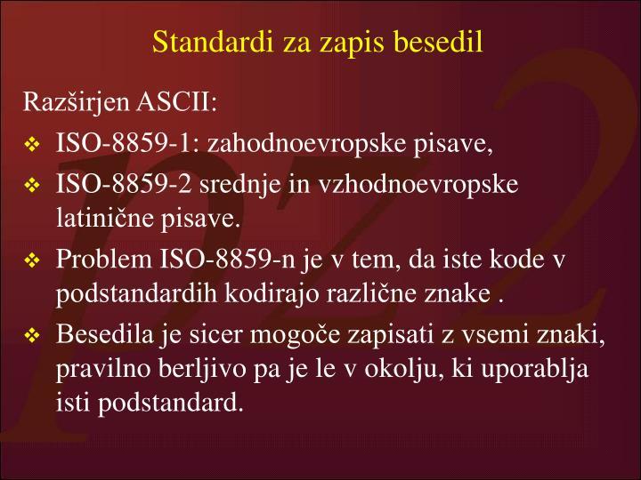 Standardi za zapis besedil