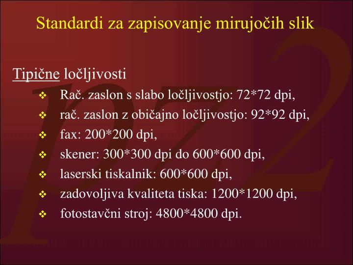 Standardi za zapisovanje mirujočih slik