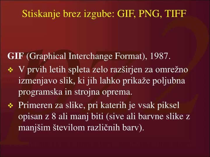 Stiskanje brez izgube: GIF, PNG, TIFF