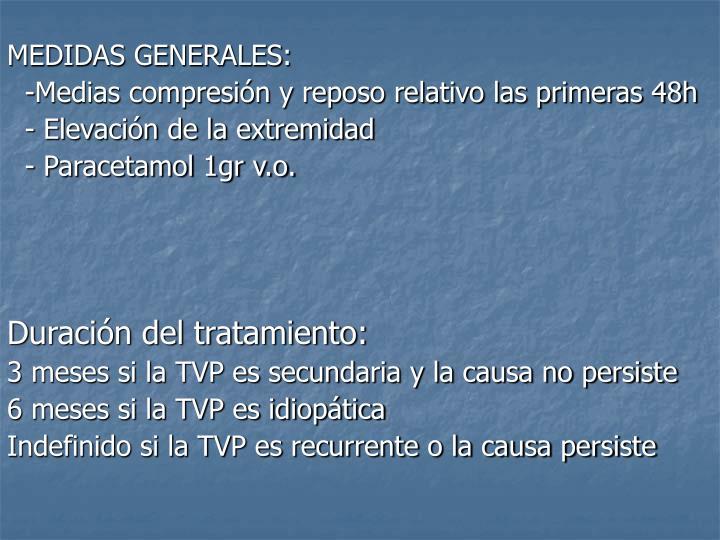 MEDIDAS GENERALES: