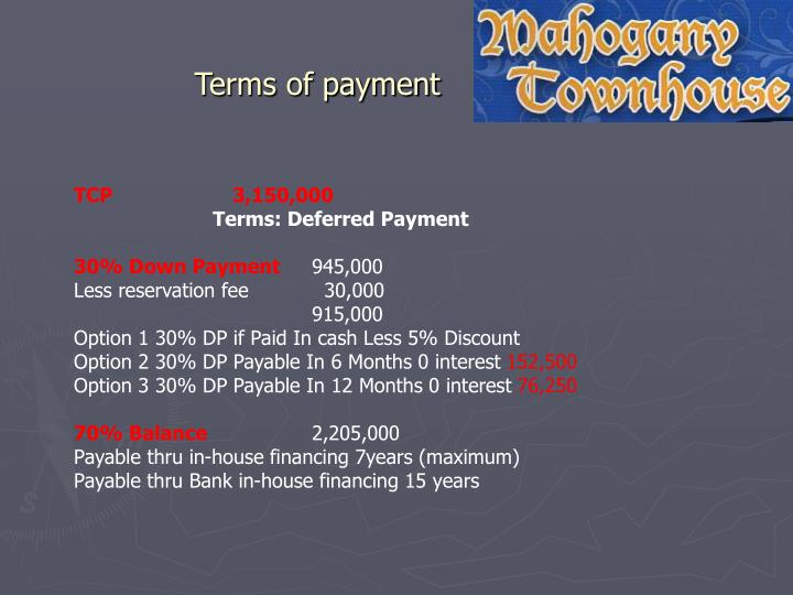 Terms of payment