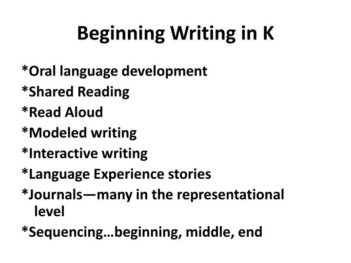 Beginning Writing in K