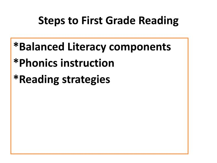 Steps to First Grade Reading