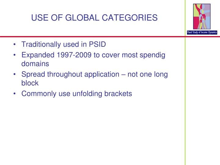 USE OF GLOBAL CATEGORIES