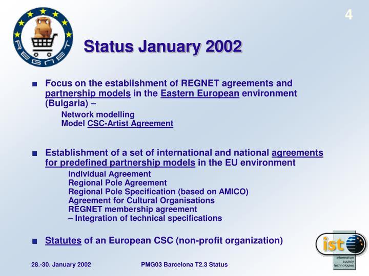 Status January 2002