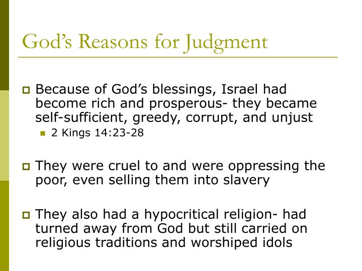 God's Reasons for Judgment