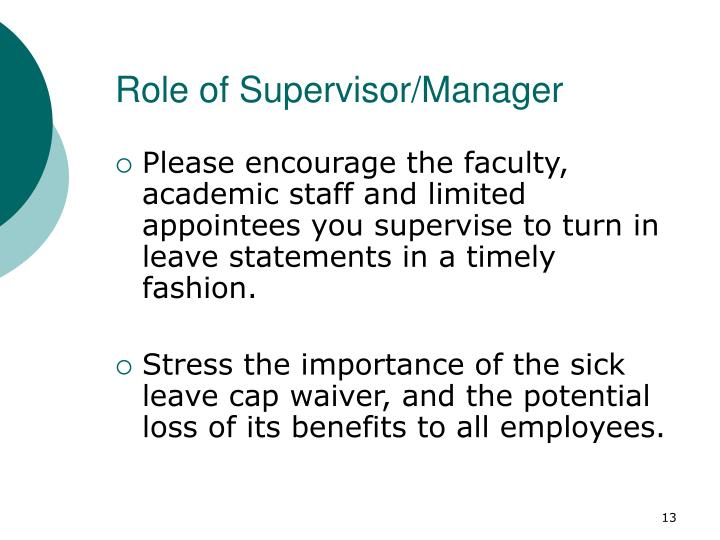 Role of Supervisor/Manager