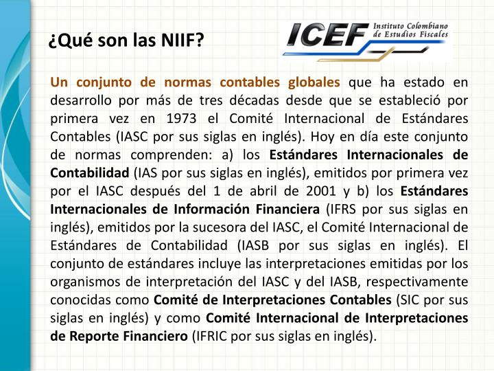 ¿Qué son las NIIF?