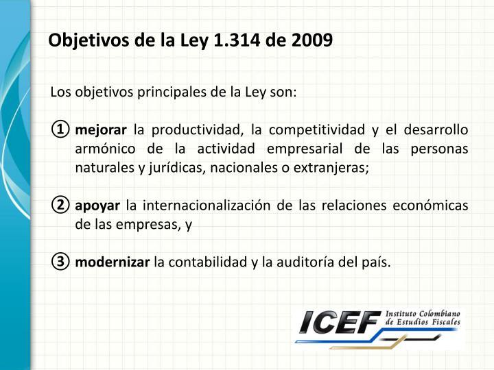 Objetivos de la Ley 1.314 de 2009