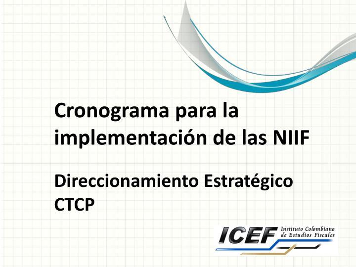 Cronograma para la implementación de las NIIF