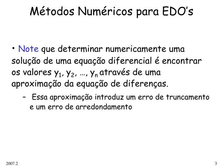 Métodos Numéricos para EDO's