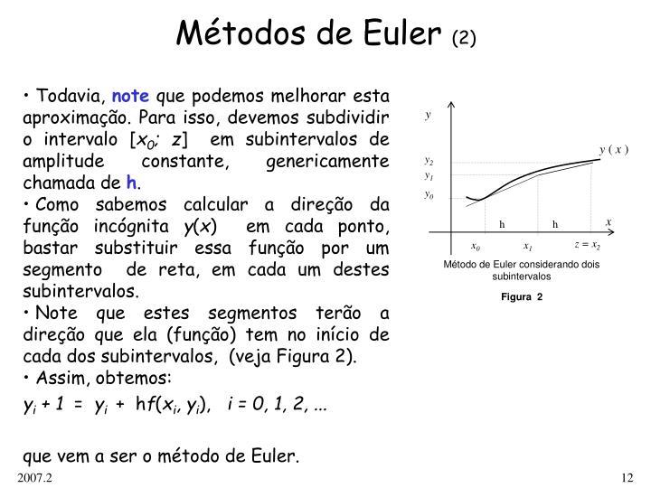 Método de Euler considerando dois subintervalos
