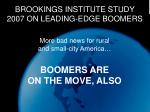 brookings institute study 2007 on leading edge boomers