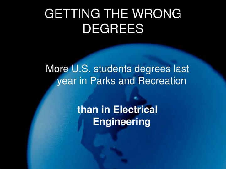 GETTING THE WRONG DEGREES