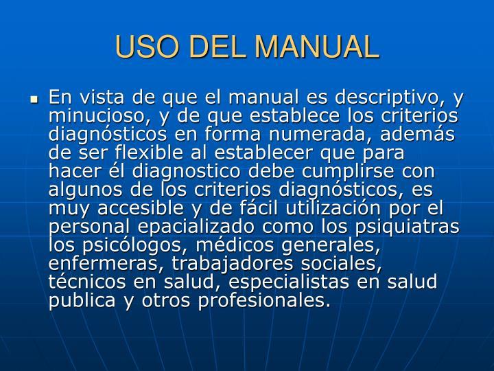 USO DEL MANUAL