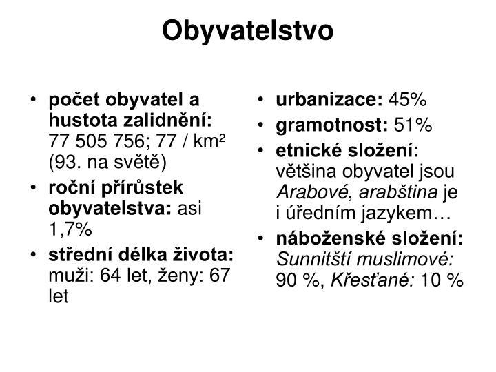 počet obyvatel a hustota zalidnění: