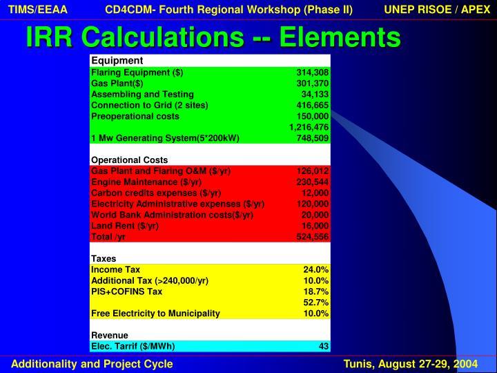 IRR Calculations -- Elements