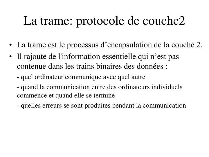 La trame: protocole de couche2