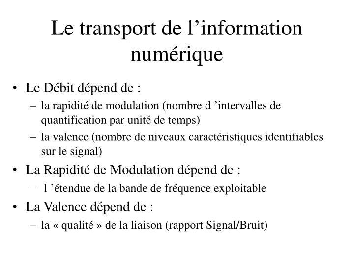 Le transport de l'information numérique
