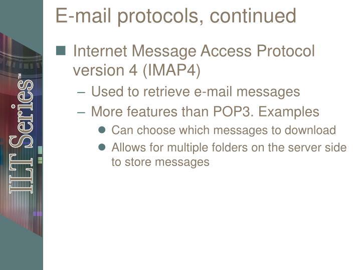 E-mail protocols, continued