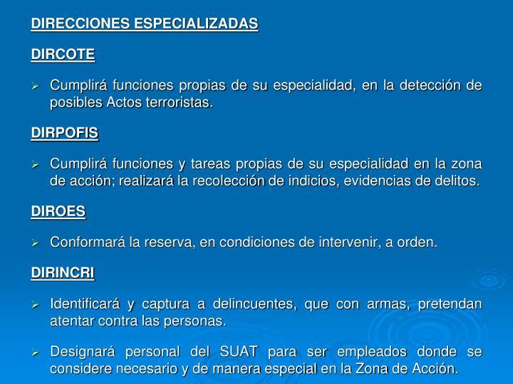 DIRECCIONES ESPECIALIZADAS