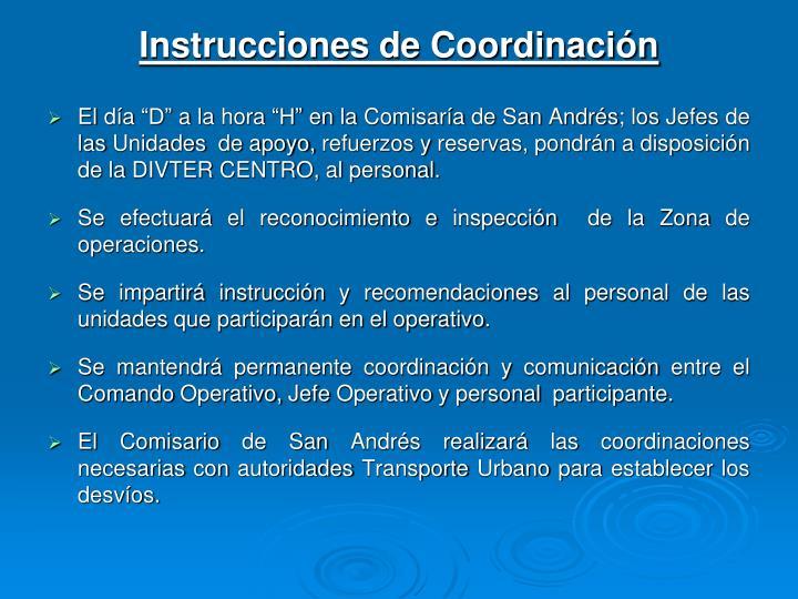 Instrucciones de Coordinación