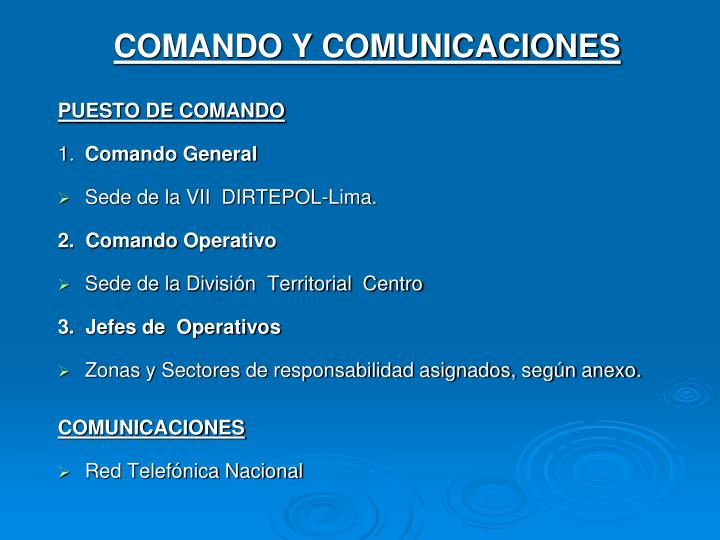 COMANDO Y COMUNICACIONES
