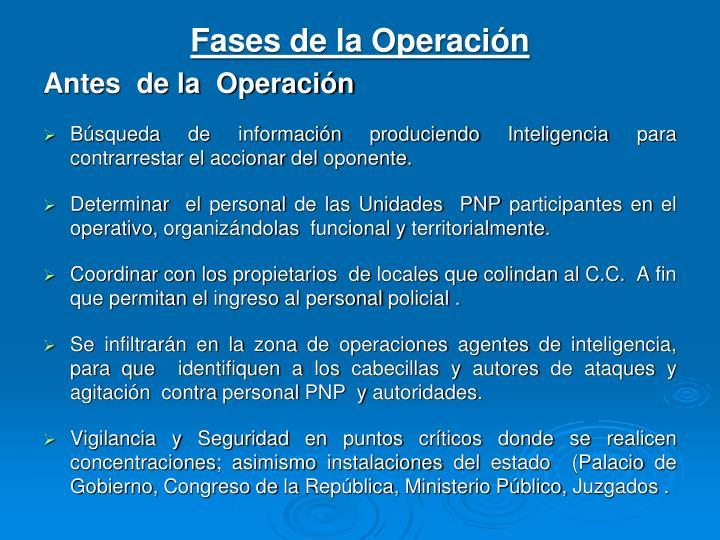 Fases de la Operación