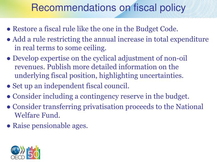 Recommendations on fiscal policy