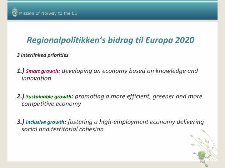 Regionalpolitikken's bidrag til Europa 2020