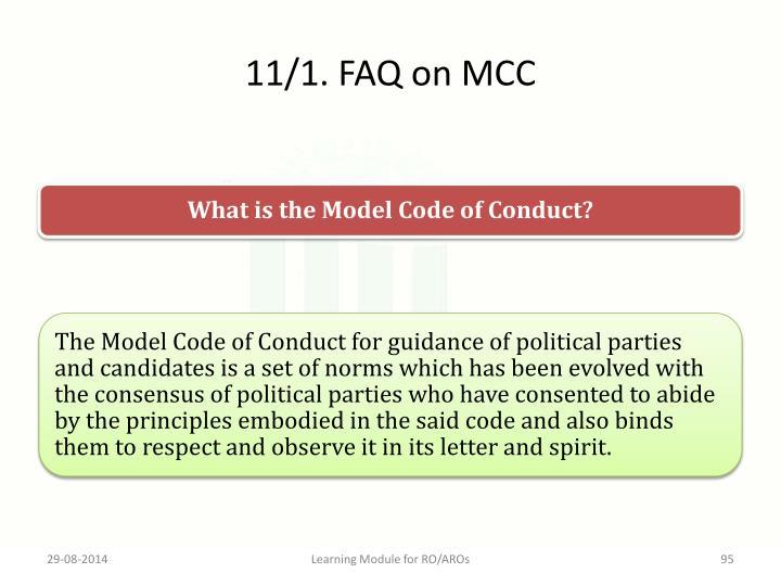 11/1. FAQ on MCC
