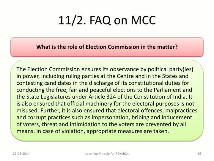 11/2. FAQ on MCC
