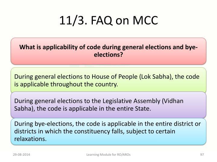 11/3. FAQ on MCC