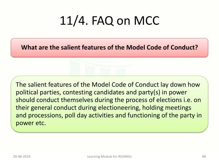 11/4. FAQ on MCC