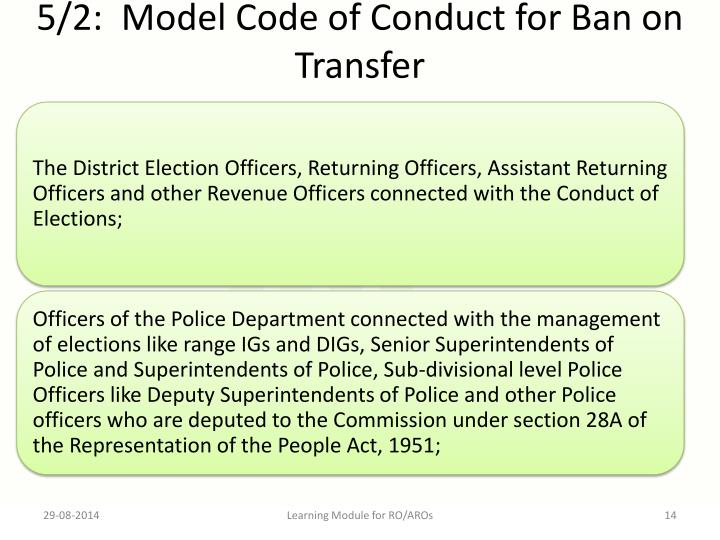 5/2:  Model Code of Conduct