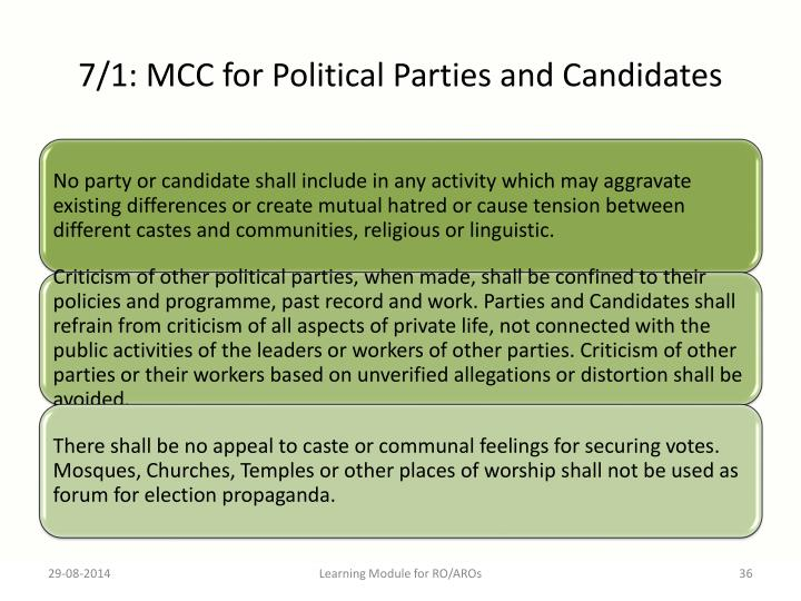 7/1: MCC for Political Parties and Candidates